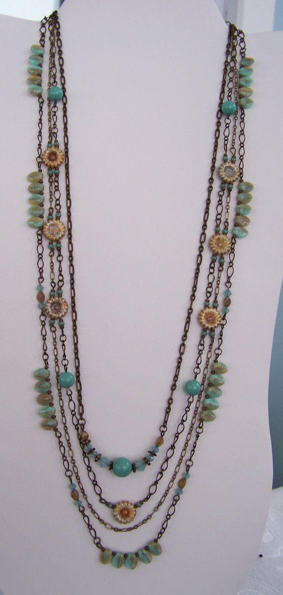 Jade pearl and Seafoam Swarovski 4 strand chain necklace