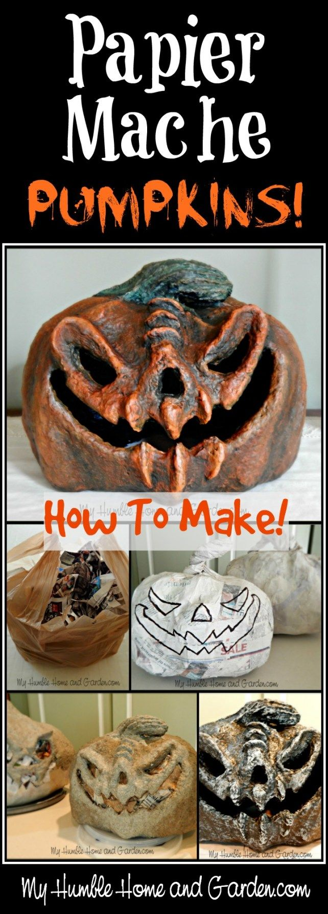 Papier-mâché - Pumpkins How To Make - My Humble Home and Garden