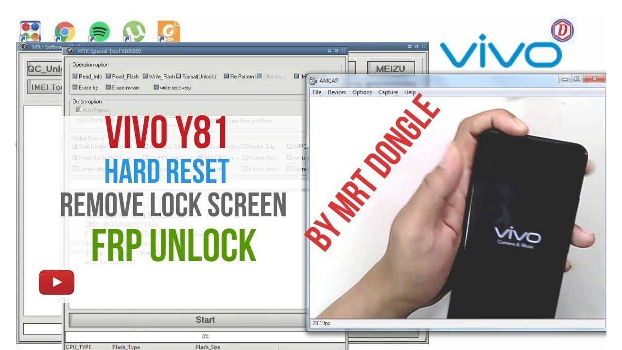 Vivo y81 Hard reset,Remove pattern,FRP Unlock By MRT Dongle