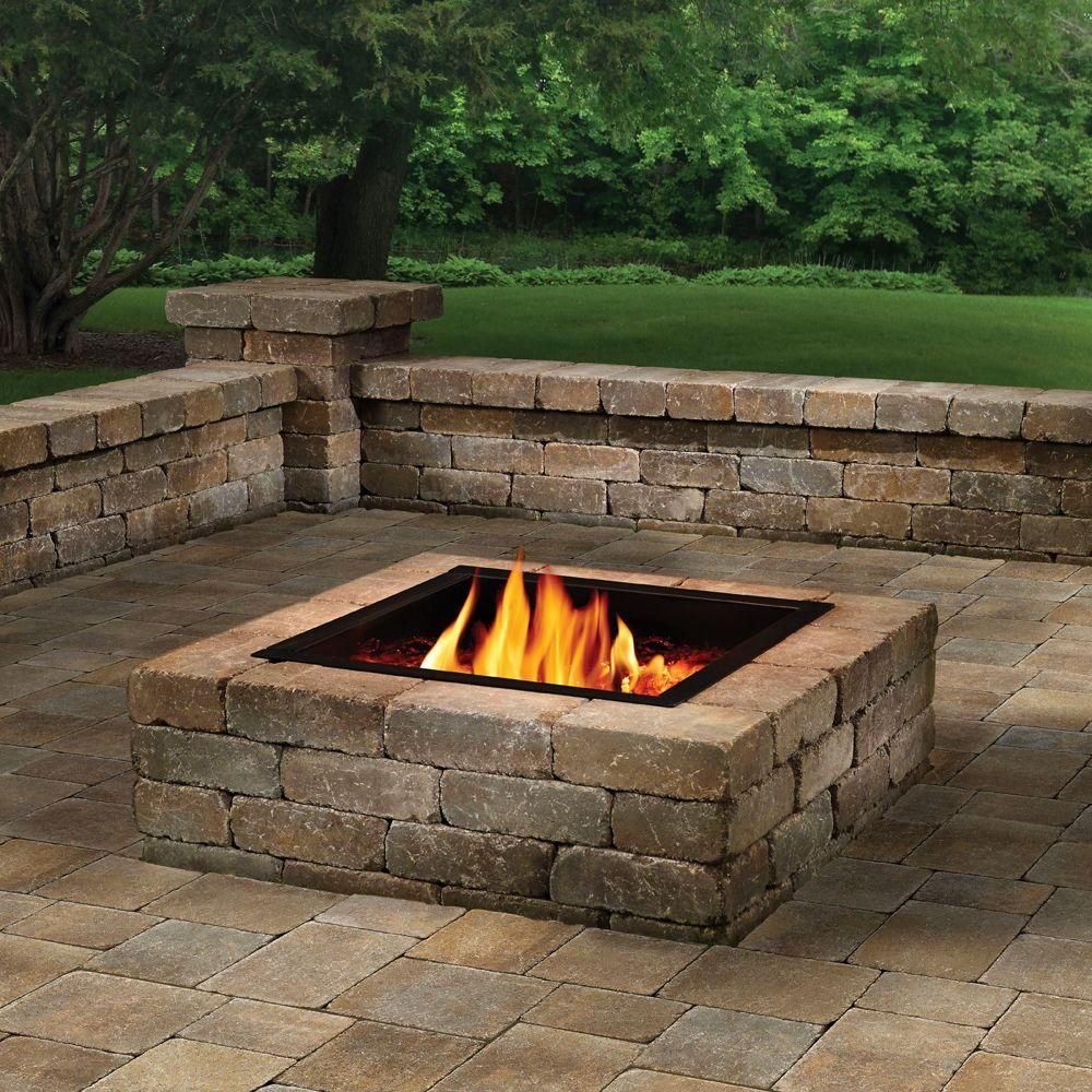 Anchor 44 In Northwoods Fresco Square Fire Pit Kit 600373nor At The Home Depot Square Fire Pit Outdoor Fire Pit Fire Pit Kit