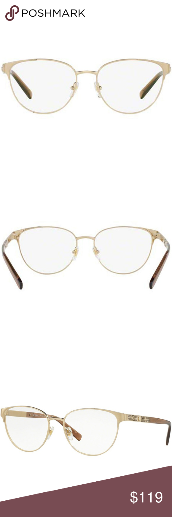 5c90848d7b Versace Square Metal Eyeglasses Frame Silver Gold Brand  Versace Model   VE1238-1339