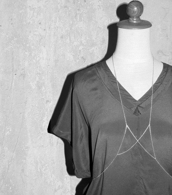 Silver Body Chain in Complex Geometry No. 31 by moderntribes, $28.00