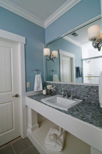Beau Bathroom Vanity Countertop And Backsplash In Blue Mosaic Tile   Coastal  Retreat Guest Bath Traditional Bathroom (by Southern Studio Interior Design)