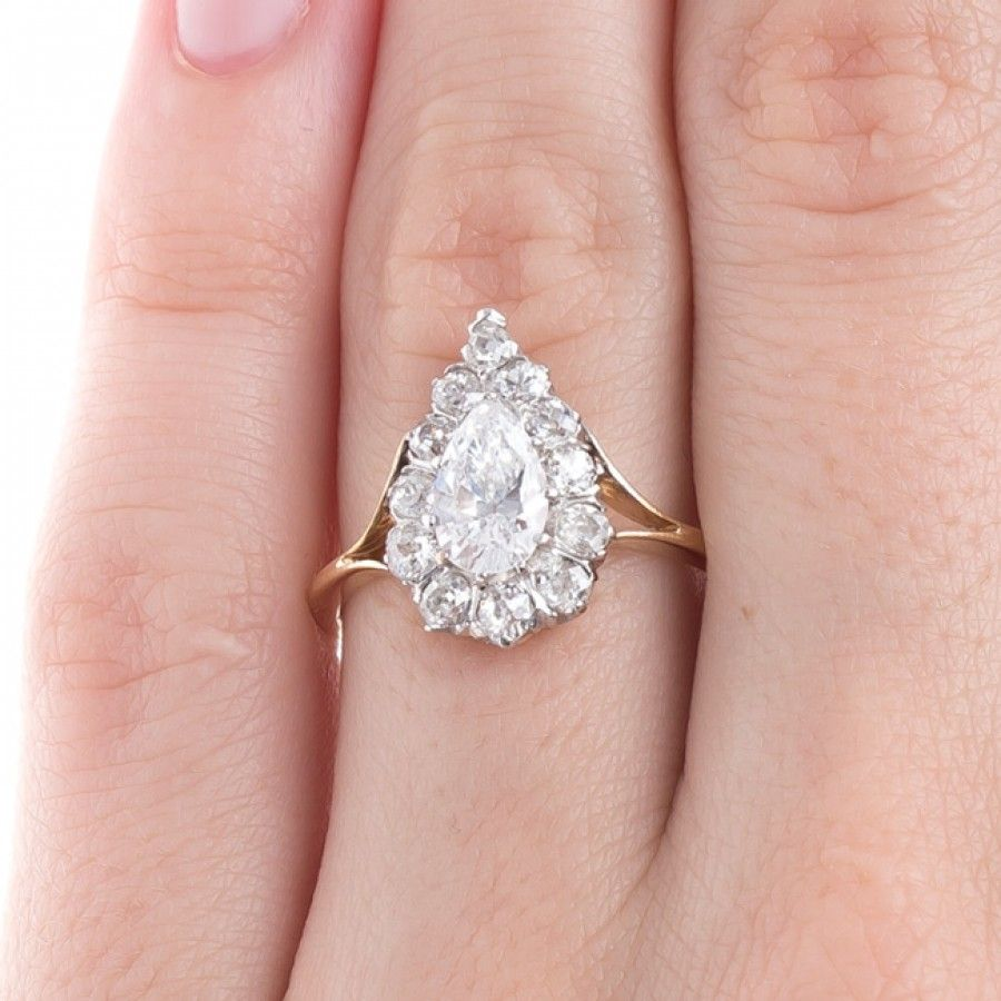 High Quality Pear Shaped Diamond Halo Ring | Kips Bay | Jewelry ...