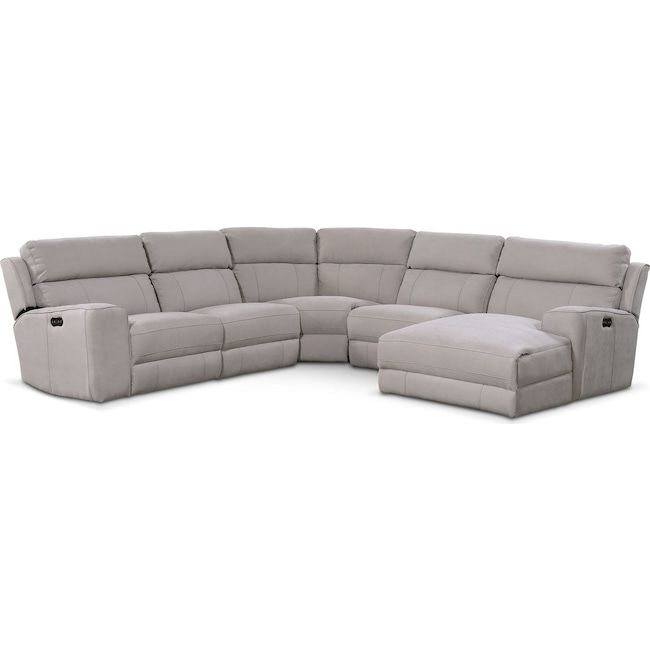 Best Newport 5 Piece Dual Power Reclining Sectional With Chaise 400 x 300