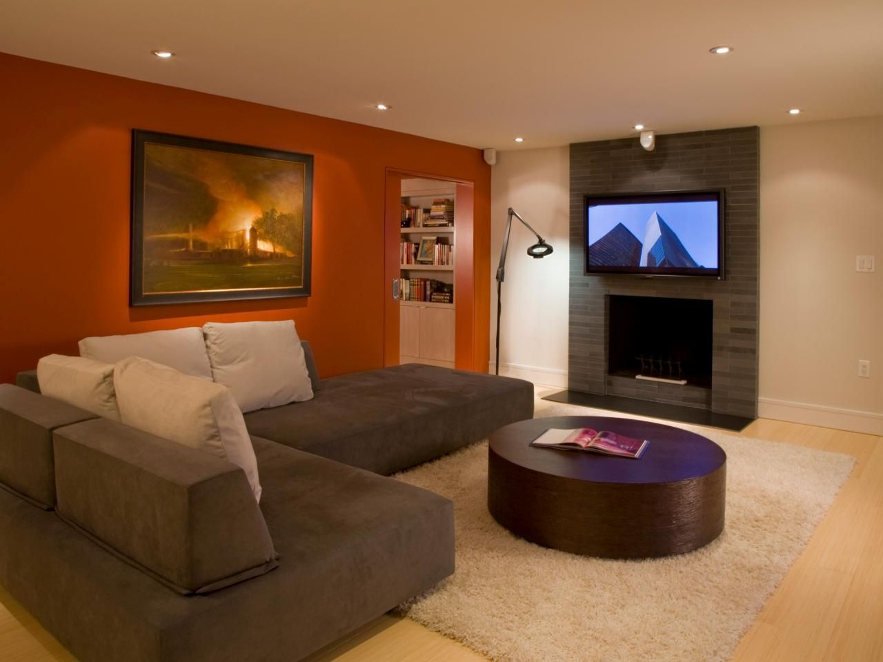 Modern Family Room With Red Accent Wall Living Room Colors Paint Colors For Living Room Accent Walls In Living Room #painting #an #accent #wall #in #living #room