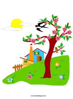 Paesaggio primaverile illustrazioni in bianco e nero e for Disegni colorati paesaggi