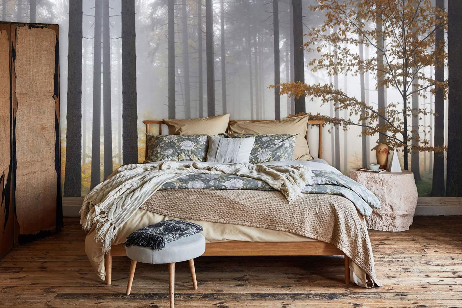 Autumn Misty Morning in the Forest Wall mural, Wallpaper