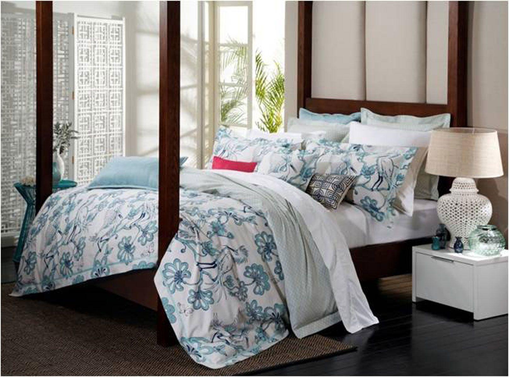 Florence Broadhurst Bed Linen Egrets Teal Harvey Norman