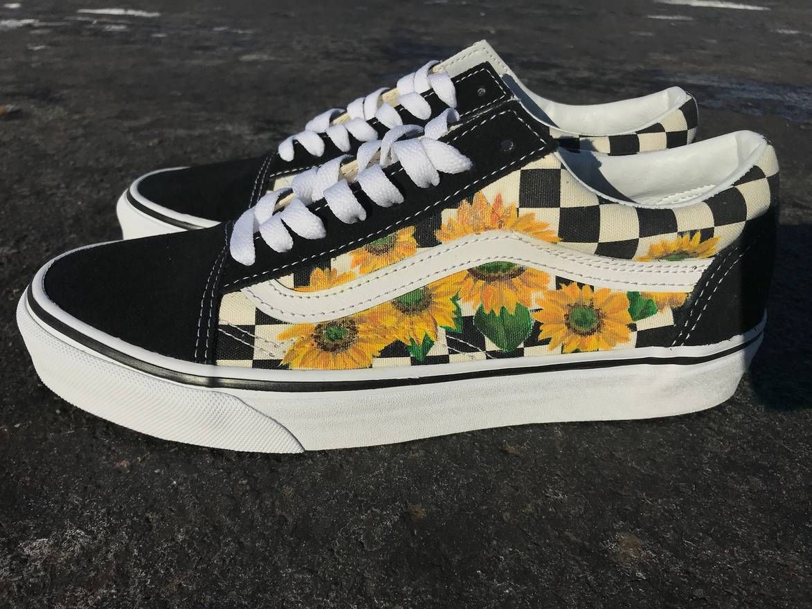 Sunflower old skool checkerboard vans hand painted by me