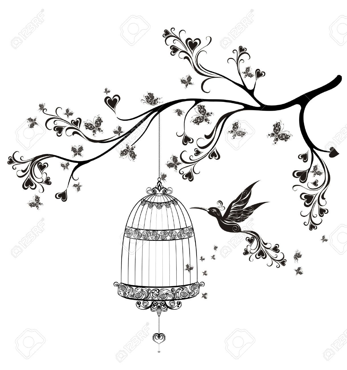 Open Birdcage Silhouette Stock Vector | project...