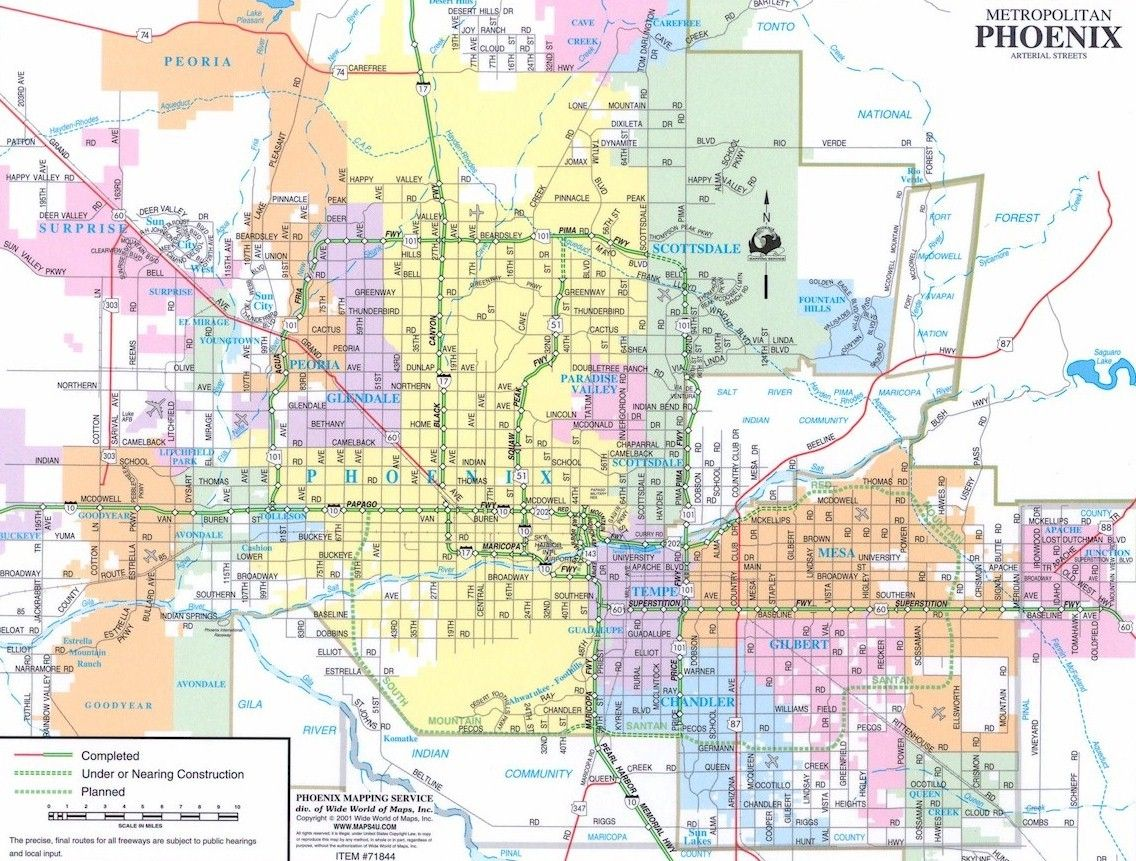 map of phoenix and surrounding area 2001 Phoenix Map Look At All The Missing Freeways Phoenix Map map of phoenix and surrounding area