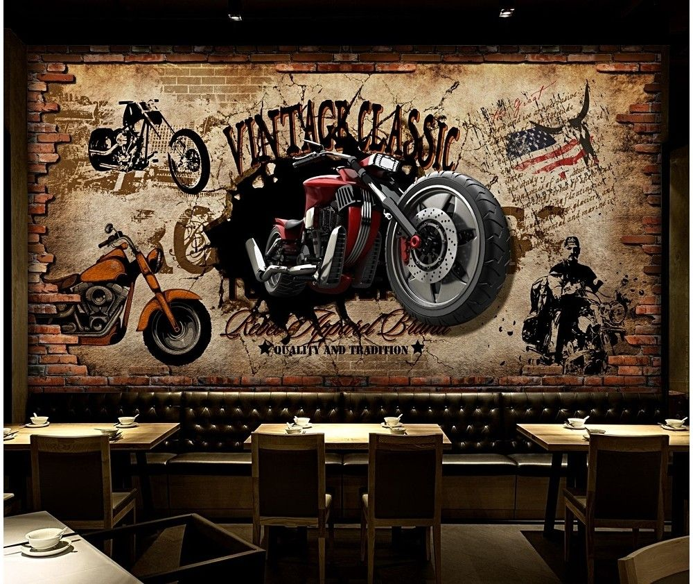 Vintage Motorbike With American Flag Wallpaper Mural American Flag Wallpaper Mural Brick Wallpaper Restaurant