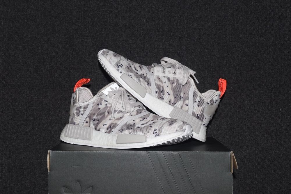 New Adidas Nmd R1 Women S Size 7 5 Chalk White Camo Solar Red