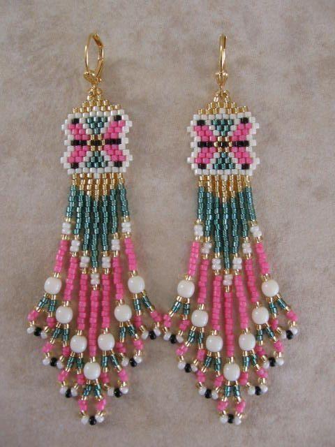Free Native American Beadwork Designs | Seed Bead Beadwoven Earrings Free…