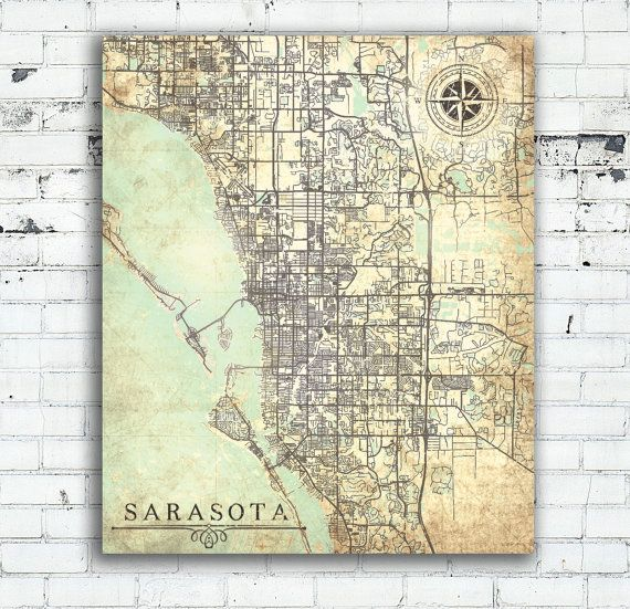 United States Wall Art sarasota canvas print florida fl vintage map sarasota city map