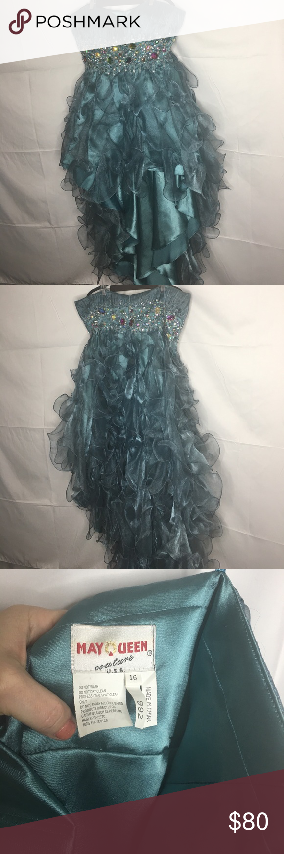 Stunning teal may queen highlow dress queen dress teal and high low