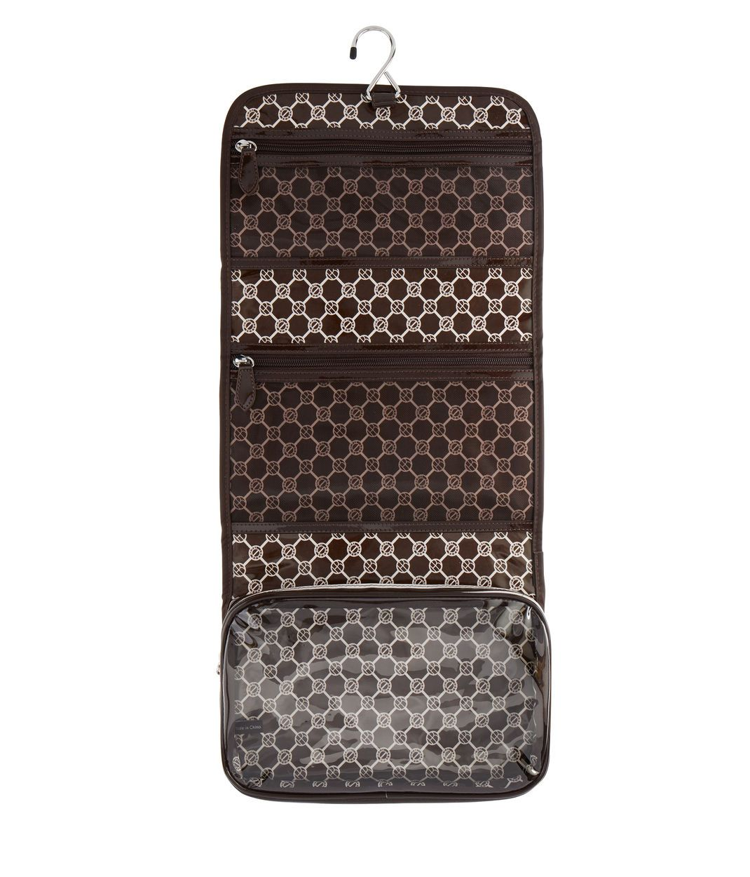 <p>Pack up for the night or the week in the Brown and White Overnighter and your cosmetics will stay perfectly safe and organized. Crafted from a durable coated canvas, this luxury luggage accessory is the perfect companion for your traveling needs.</p>