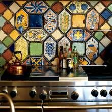 A Mix Of Italian Tiles In Shades Of Yellow Blue Brown And Green