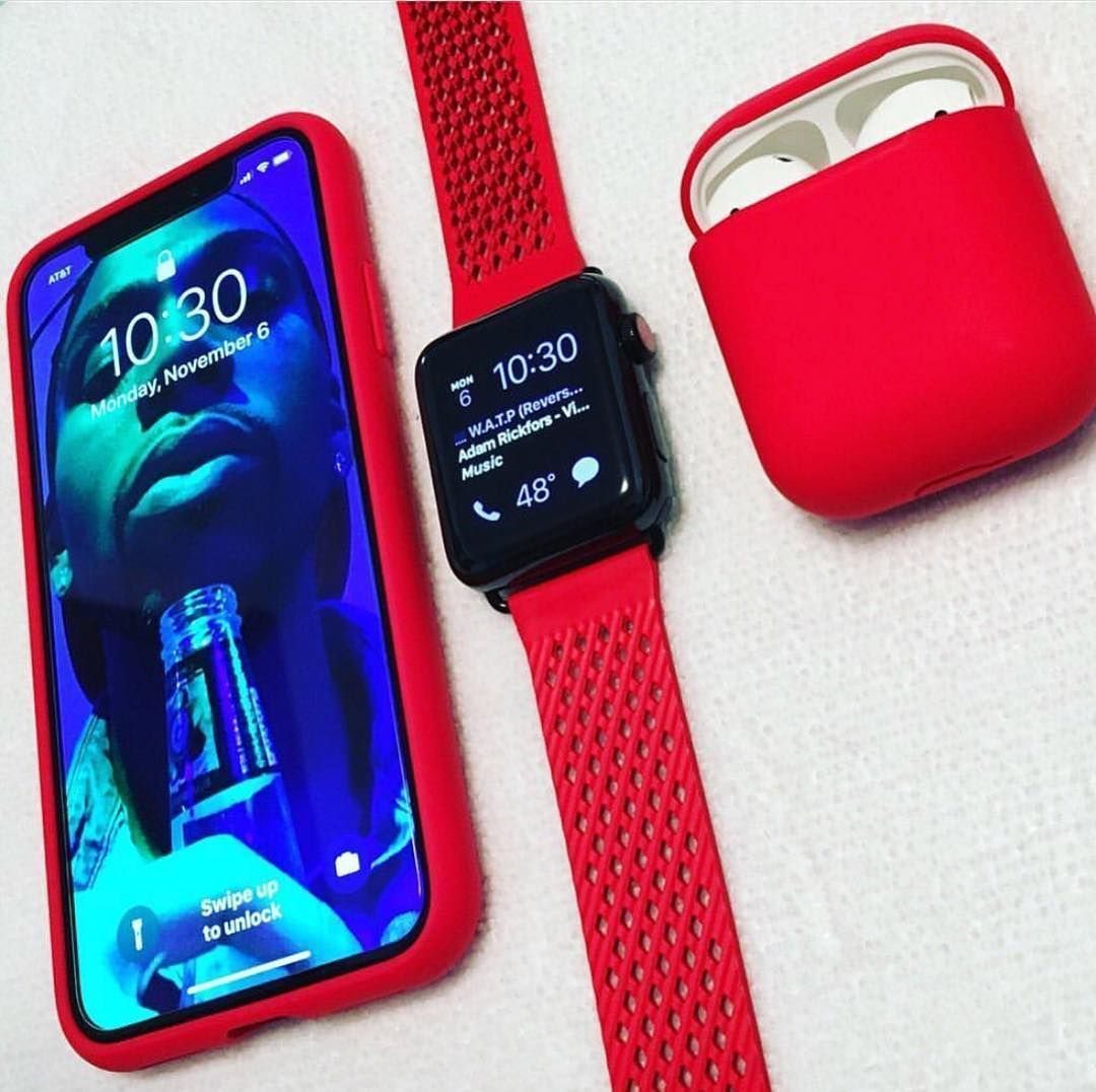 timeless design a8011 5b2cc IphoneX Red Applewatch Red Case AirPods | Arts in 2019 | Apple watch ...
