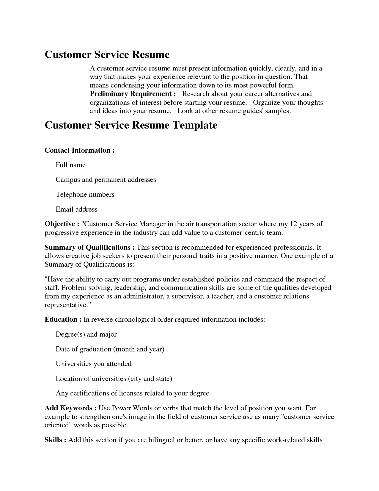 Resume Job Experience Job Wining Resume Samples For Customer Service Position Excellent