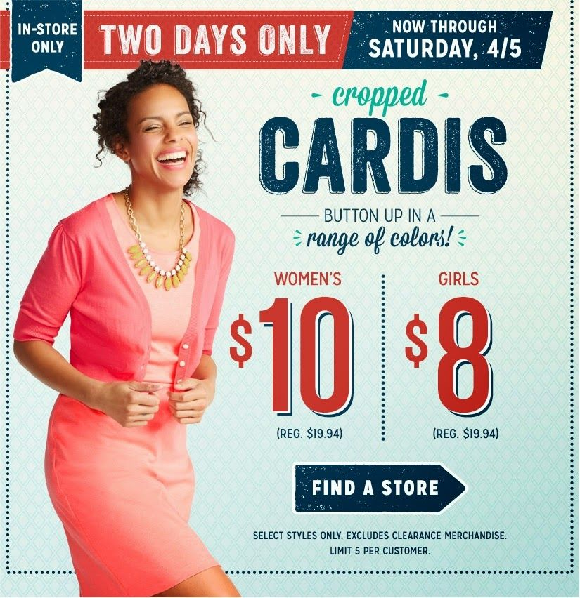 Frugalicious Marie 10 Women S 8 Girls Cropped Cardis 2 Days Only Old Navy Women Old Navy Coupon