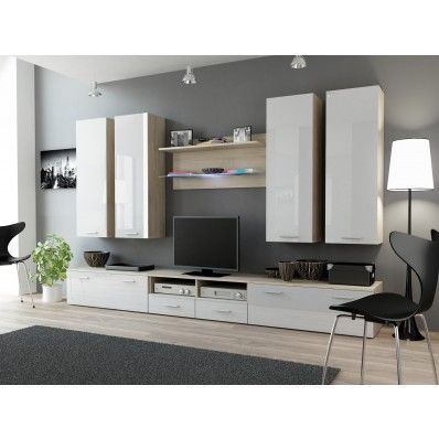 Indigo 5 - oak entertainment center with white doors Oak