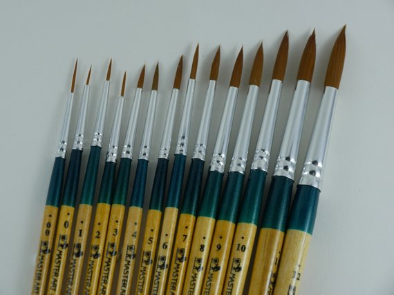 Set Of 14 Round Water Color Paint Brush Set Professional Artist