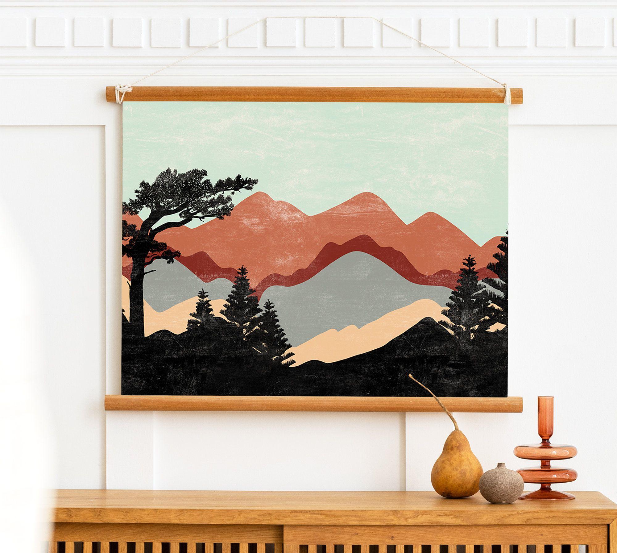 Abstract Mountain Print Mid Century Modern Mountain Art Etsy Landscape Wall Art Wall Art Sets Mountain Print