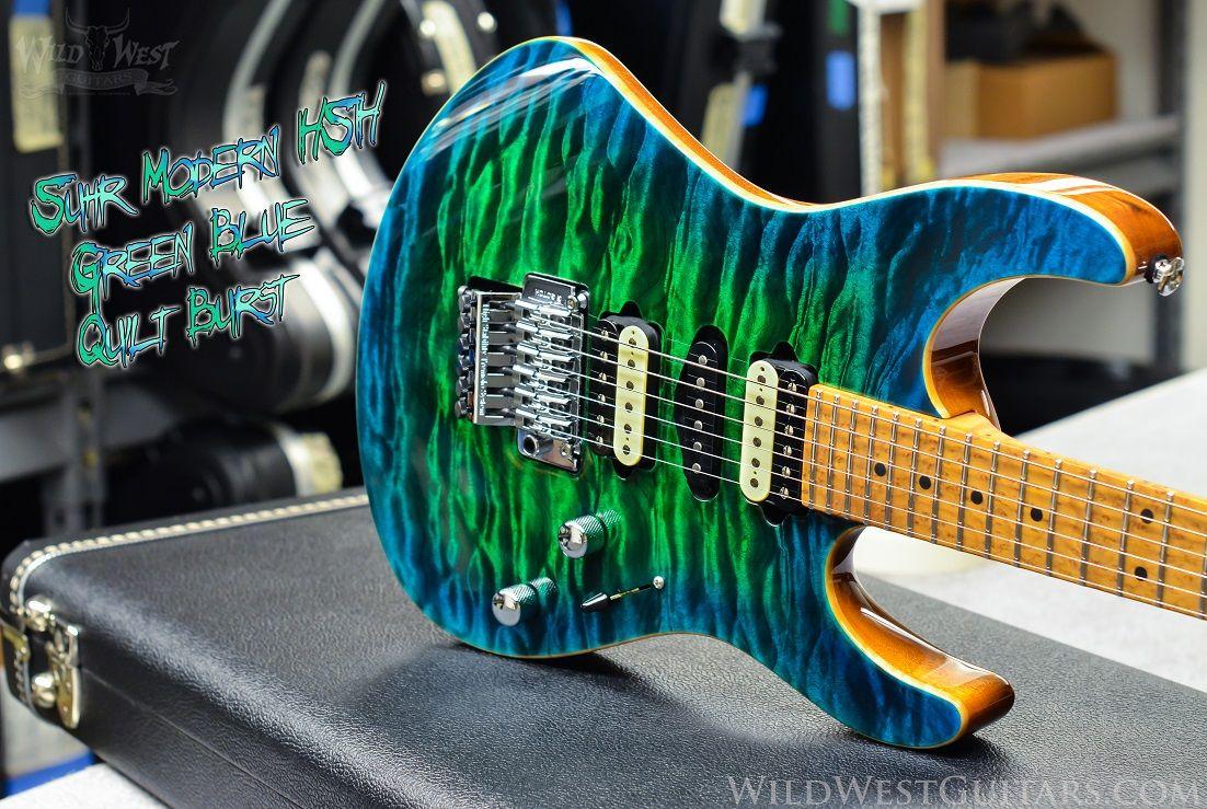 Suhr Custom Modern Green Blue Burst Quilt Top. wildwestguitars.com ... : quilt top guitar - Adamdwight.com
