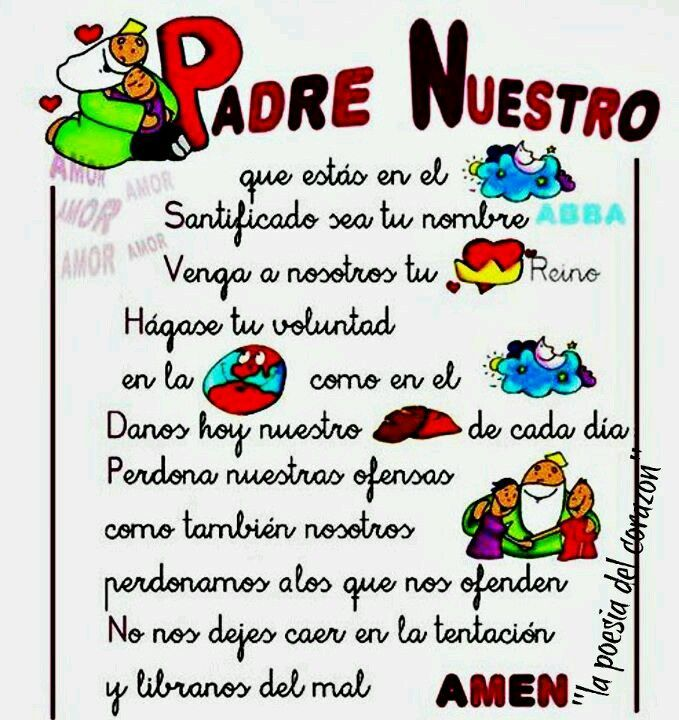 Padre Nuestro Hermoso Bible Lessons For Kids Prayers For Children Catholic Quotes