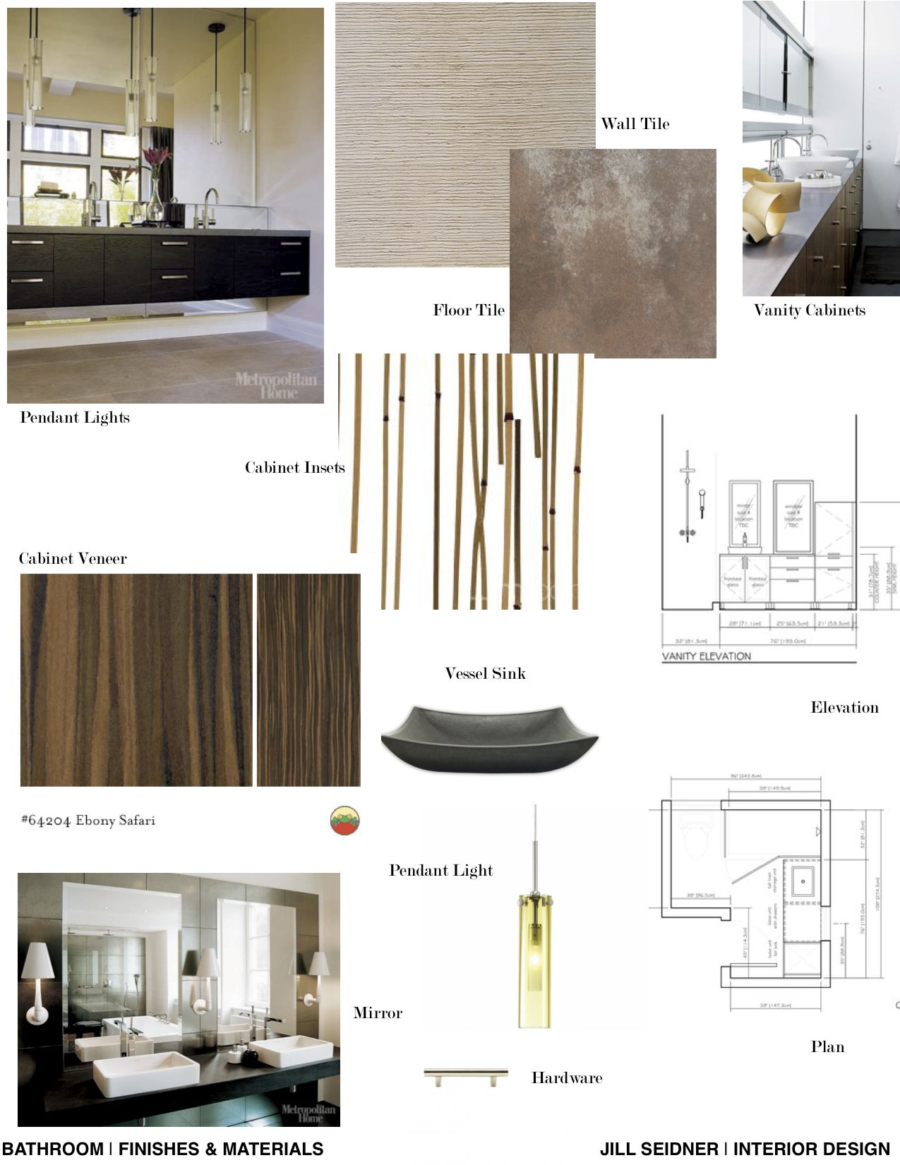 Concept board for a spa bathroom jill seidner interior for Bathroom interior design concepts