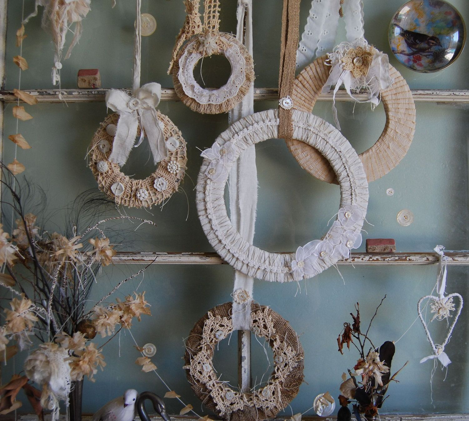 My Favorite Things - Abandoned Vintage Linen, Lace, and Burlap Set of Wreaths for Shabby Chic Holiday and Home Decorating