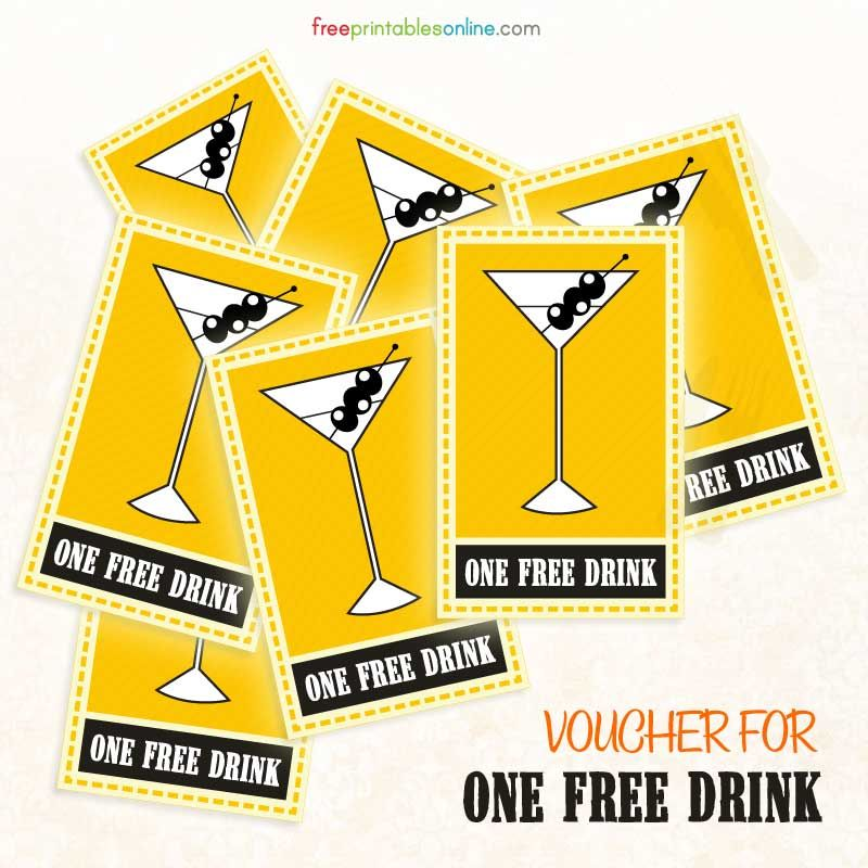 Free Printable Drink Voucher Free Printables Online Ticket Template Free Printables Ticket Template Free Free Vouchers