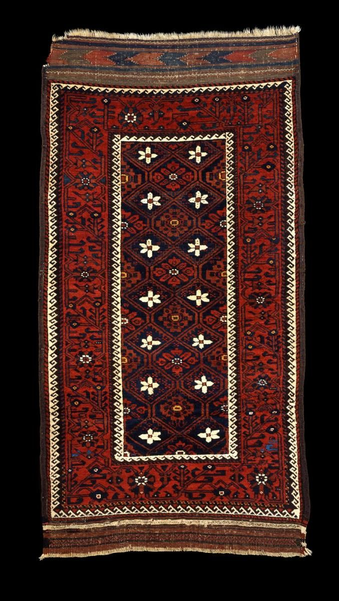 Culture Baluchi people Creation date about 1870 Collection Textiles Materials wool Dimensions 36 x 75 in. | 91.4 x 190.5 cm.