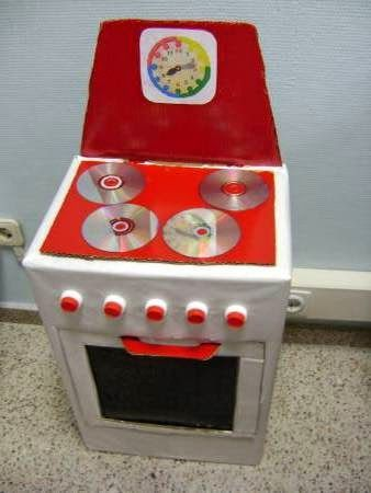 Cocina caja de cart n forrada cds y tapones deti for Cocina de carton