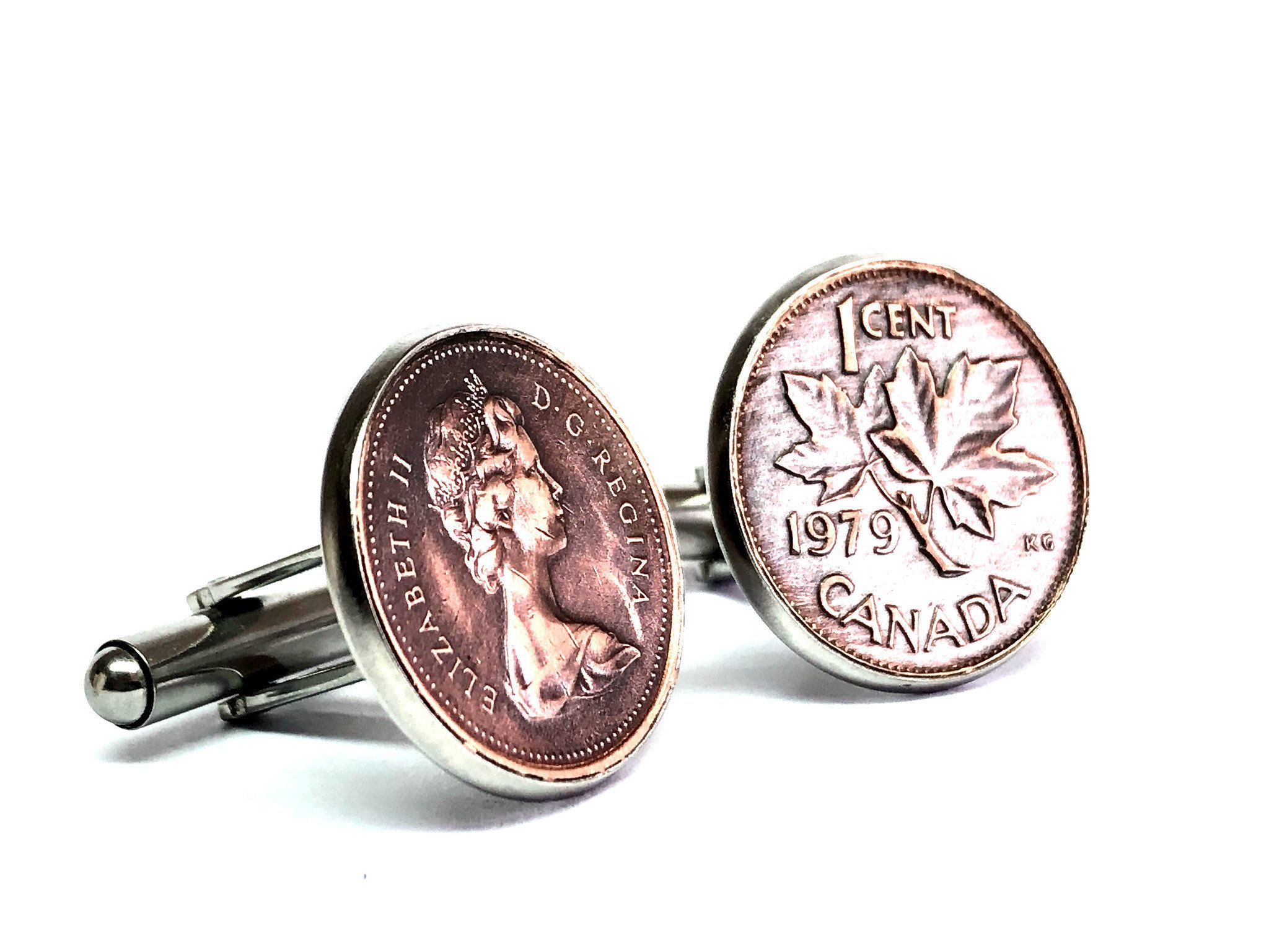 Canada coin cufflinks one cent 18mm 1985 1986 1987 1988