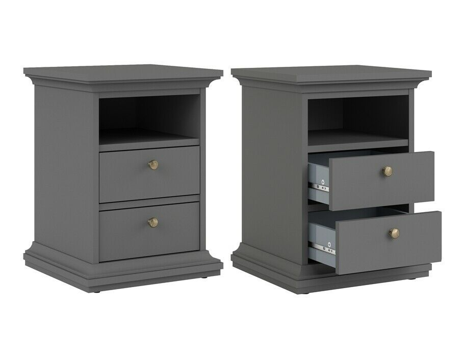 2 Drawers Nightstand Bedside Storage Cabinet/&Bookcase Table Bedroom  Furniture