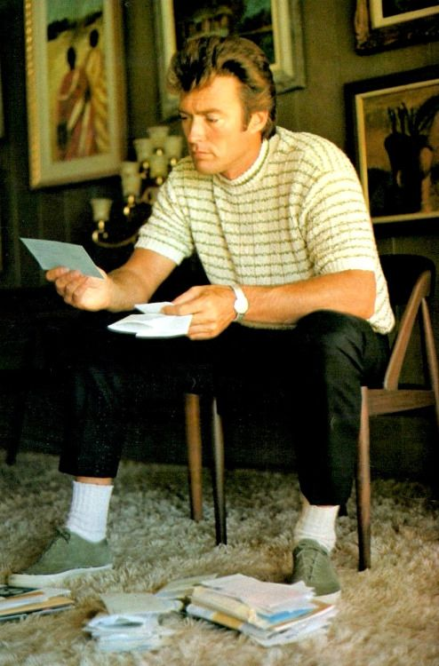 Clint reads fan mail in his living room, c.1965