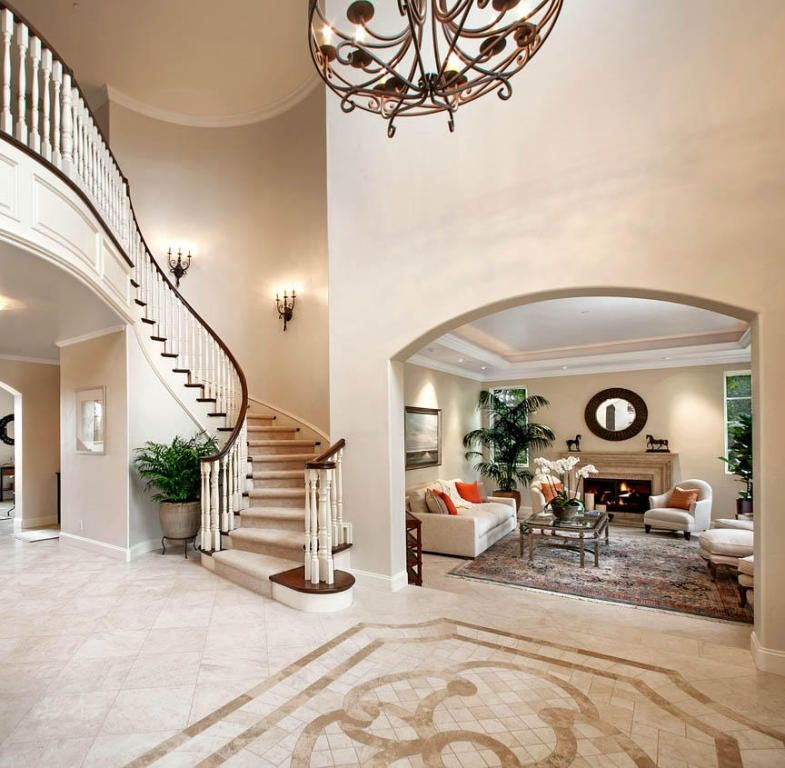 Traditional Entryway With Chandelier High Ceiling In Santa Barbara