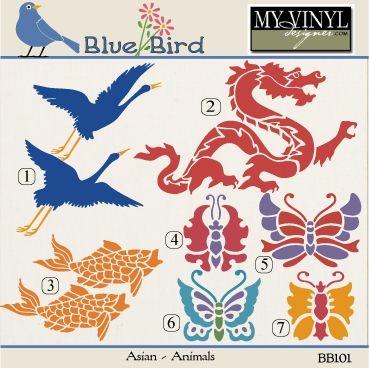 DIGITAL DOWNLOAD ... Asian Animal Vectors in AI, EPS, GSD, & SVG formats @ My Vinyl Designer #myvinyldesigner #bluebird