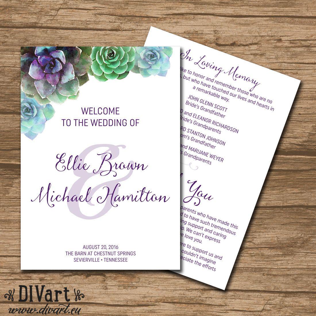 Succulent Wedding Program Ceremony Program Booklet Style