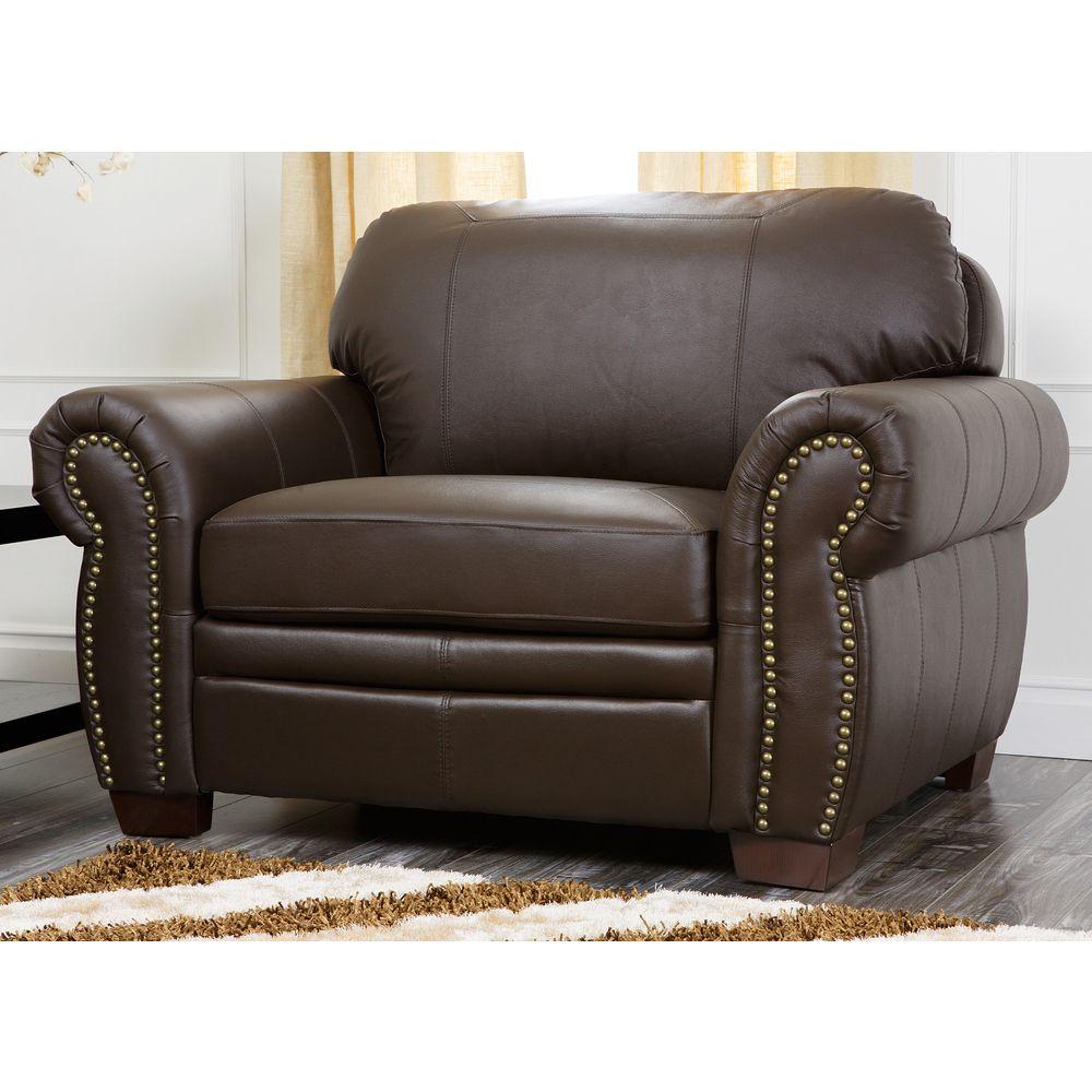 $680 Abbyson Living Signature Italian Leather Oversized Chair   Overstock .com