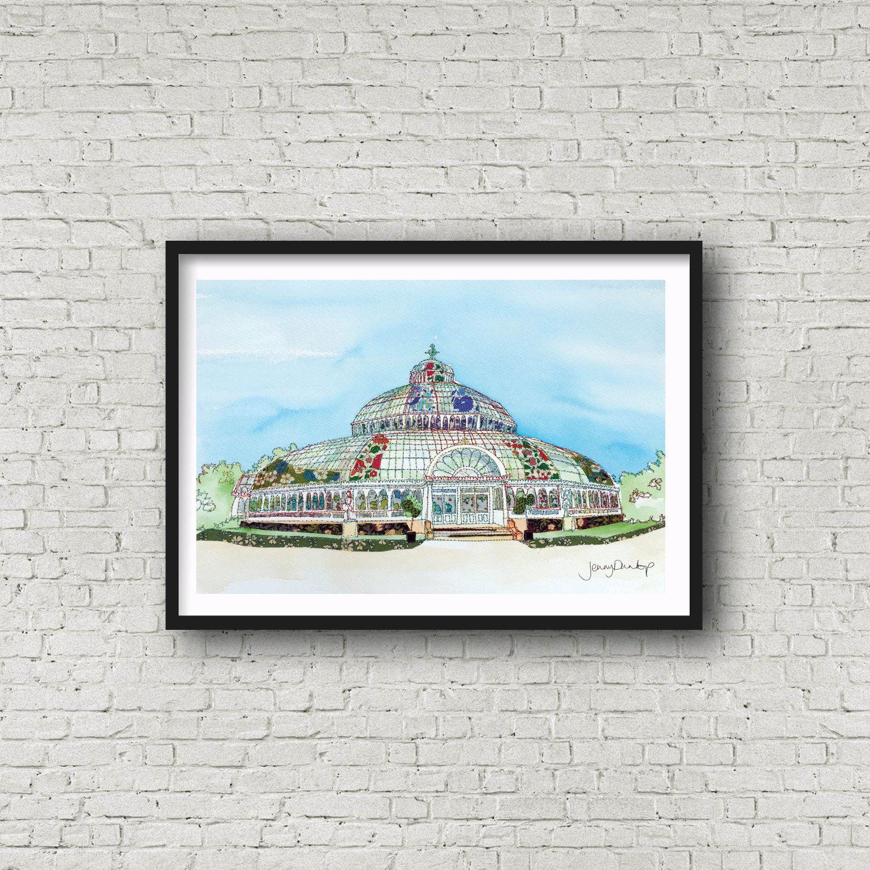 Palm House - Sefton Park - Liverpool - PRINT #palmhouse #glasshouse #liverpool #jennydunlopart