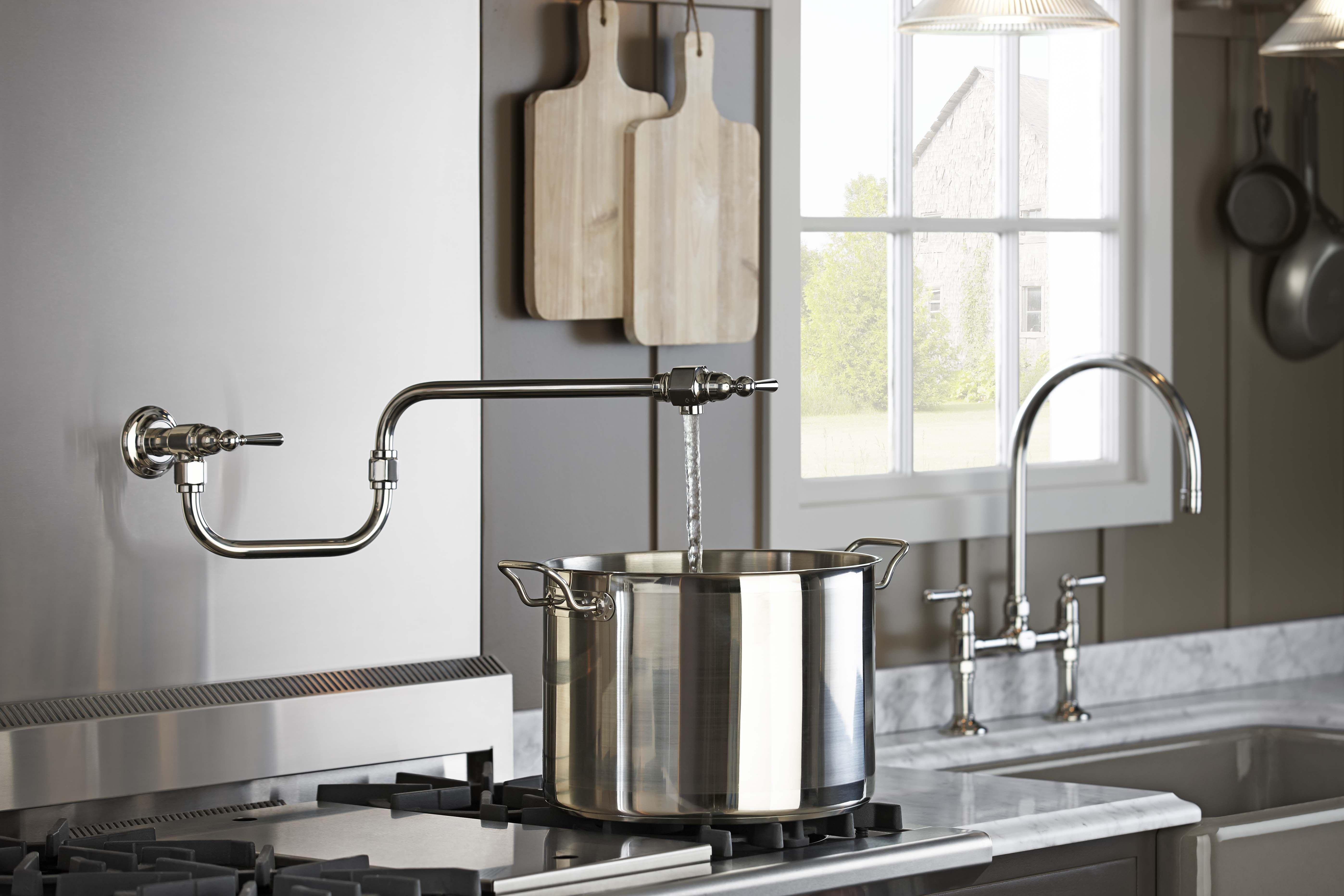 Hirise wallmount pot filler neutral kitchen farmhouse