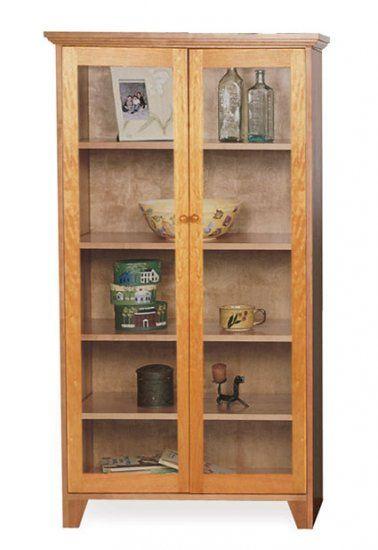 Custom Shaker Bookcase Full Glass Doors Bookcase With