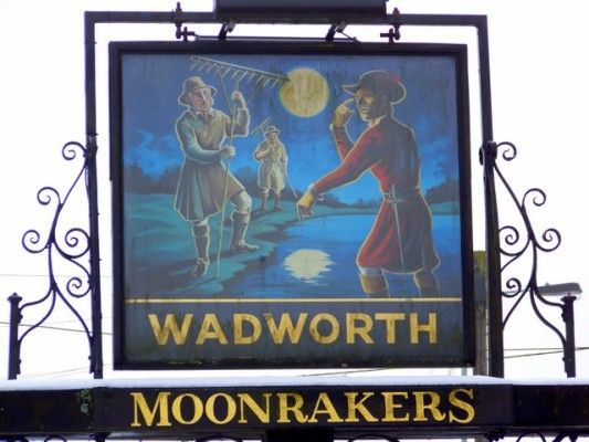 Sign for Moonrakers ©  Miss Steel and licensed for reuse under this Creative Commons Licence