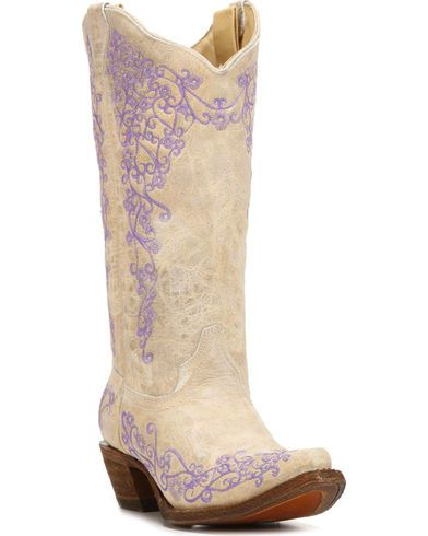 White Cowhide Cowgirl Boots - Snip Toe