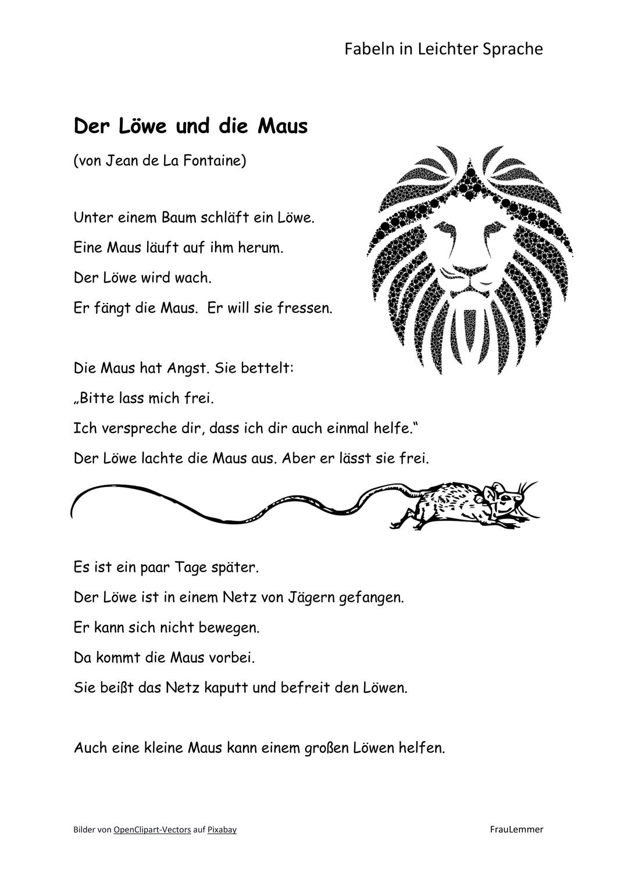 Fabel Löwe Maus in Leichter Sprache – Unterrichtsmaterial im Fach ...