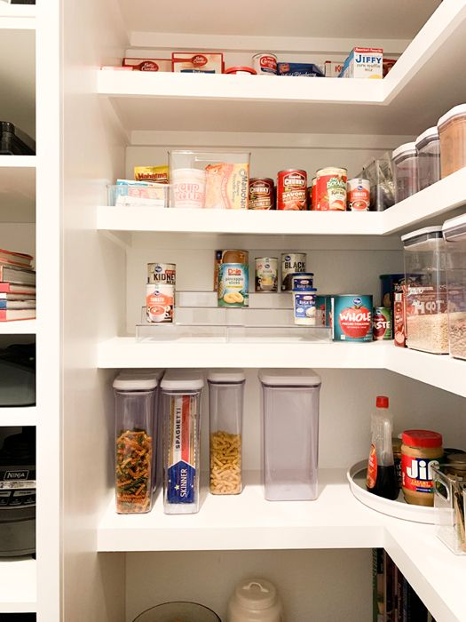 How I Organize My Walk-In Farmhouse Pantry including storage for canned goods and soups. #pantry #pantryorganization Pantry Organization | Walk In Pantry | Butler's Pantry | Pantry Plans | Pantry Ideas | Farmhouse | Fixer Upper Style | Pantry Shelves | Pantry Closet | Pantry Design | Pantry Decor | Kitchen Remodel | Pantry Workspace | Pantry Storage | IKEA Hack